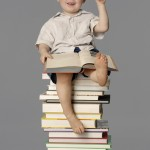 Kid on books