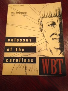 This is the publication they distributed in 1952 on the 30th Anniversary of Radio Station WBT.
