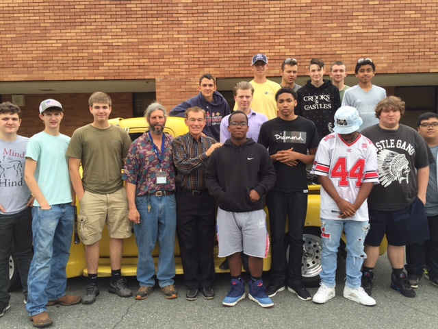 After the class, everyone piled into a 1954 Chevy pickup truck for a group photo.