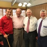 Thompson & Boyd (H.A. is holding Ty's putter). The other two are familiar executives, Jim Babb and John Hutchinson. Many of the JP retirees were born in the 30's. We've seen everything the world and business have to offer. We don't buy snow jobs. We know the difference between victory and failure. We have the scars to show it...bald heads and hearing aids. Our smiles are meaningful; we still show up and many of us still go to work.